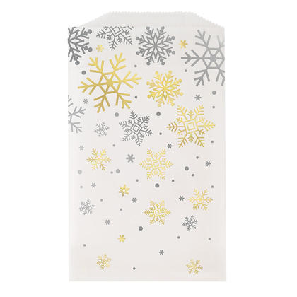 Silver & Gold Foil Snowflakes Holiday Paper Cookie Treat Bags, 6.5