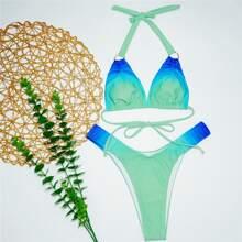 Ombre Ring Linked Halter Bikini Swimsuit