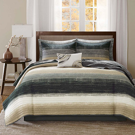 Madison Park Essentials Barret Coverlet Set, One Size , Beige