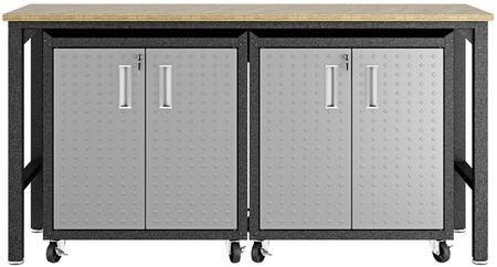 Fortress 14GMC 3-Piece Garage Cabinet and Worktable with 4 Doors and 4 Shelves in