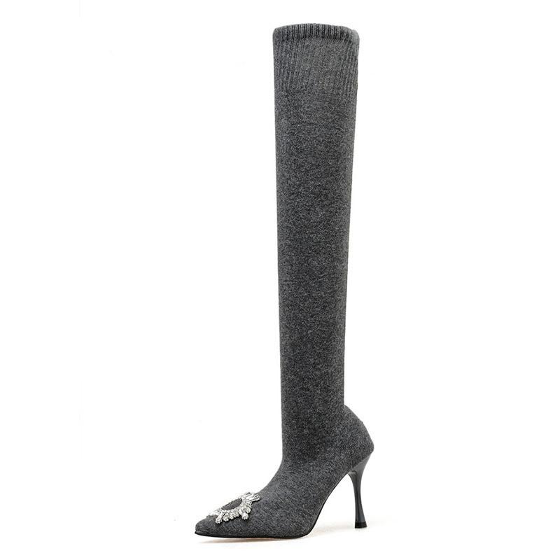 Ericdress Stiletto Heel Plain Slip-On Thigh High Boots