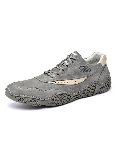 Milanoo Sneakers For Men PU Leather Mesh Embroidered Grey Round Toe Men\s Shoes