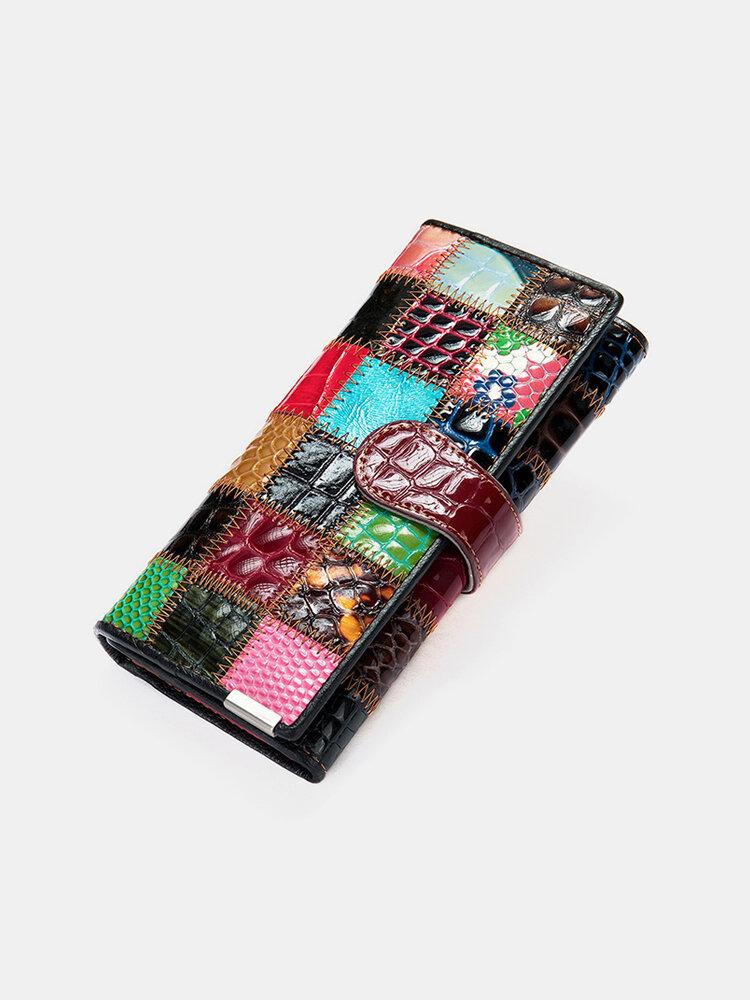 Women Genuine Leather Multicolor Patchwork Card Case Money Clips Wallet