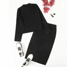 Plus Rib-knit Sweater & Skirt Set
