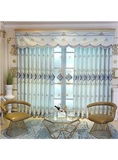 Elegant Embroidered Home Decor 2 Panels Living Room Bedroom Sky Blue Custom Grommet Curtains