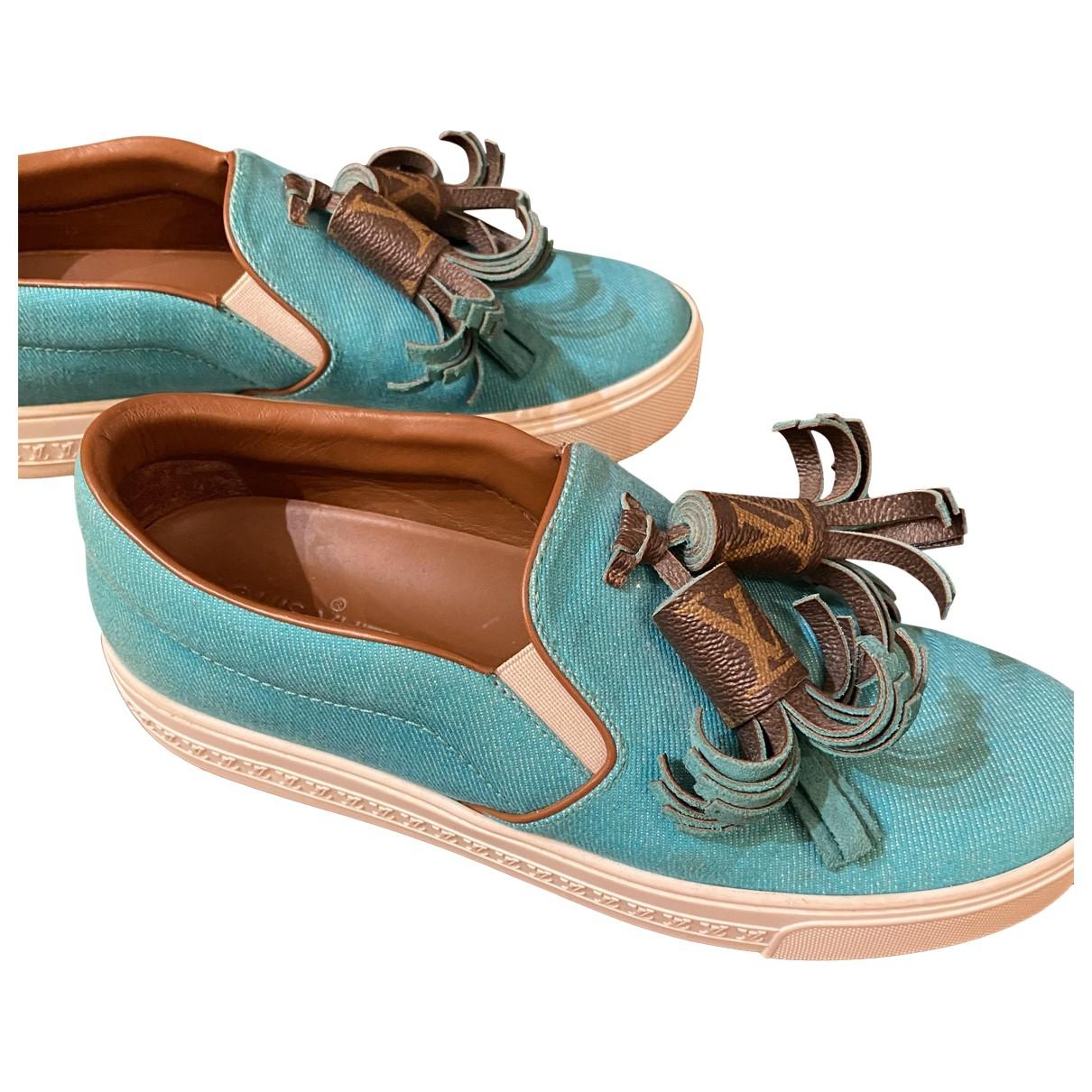 Louis Vuitton - Espadrilles   pour femme en toile - turquoise