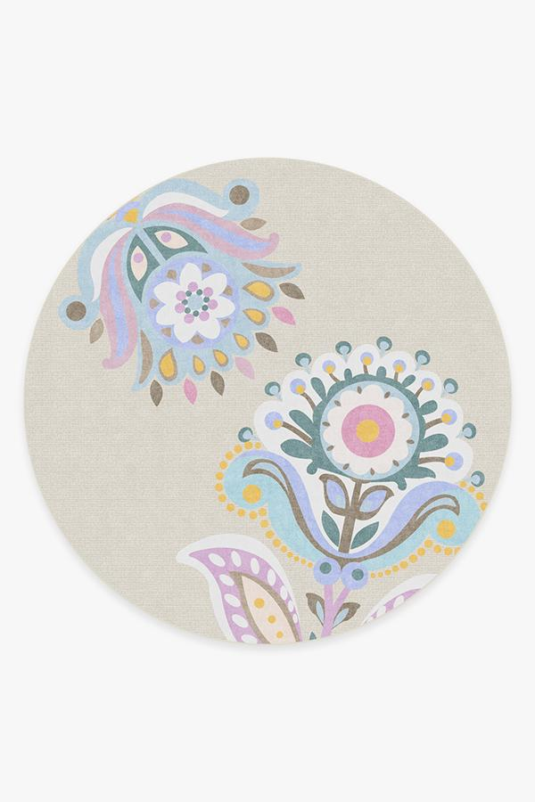 Washable Rug Cover | Cynthia Rowley In Bloom Pastel Rug | Stain-Resistant | Ruggable | 8' Round