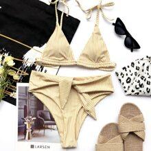 Bañador bikini de hombro con cordon triangulo de rayas