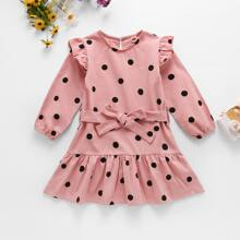 Toddler Girls Polka Dot Ruffle Hem Belted Dress