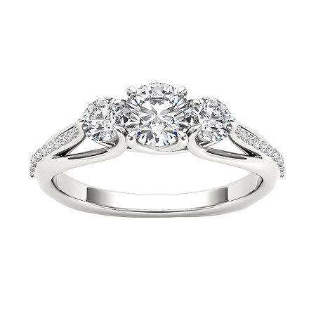 Womens 1 1/2 CT. T.W. Genuine White Diamond 14K Gold 3-Stone Engagement Ring, 6 , No Color Family