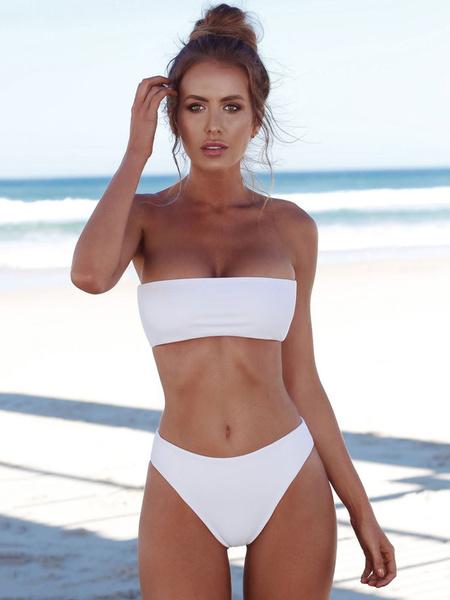 Milanoo Sexy Bikini Swimwear Strapless Solid Color Bandeau Bikini