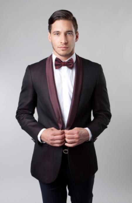 Mens Shawl Collar Single Button Burgundy Dinner Jacket Sport coat