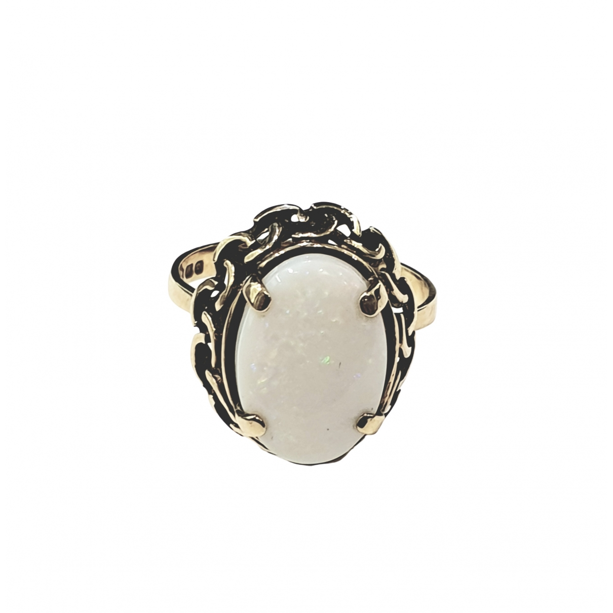 Non Signe / Unsigned Opale Ring in  Weiss Gelbgold