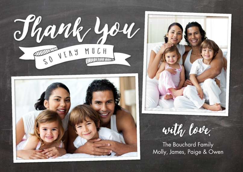 Wedding Thank You Flat Glossy Photo Paper Cards with Envelopes, 5x7, Card & Stationery -Thank You Banner