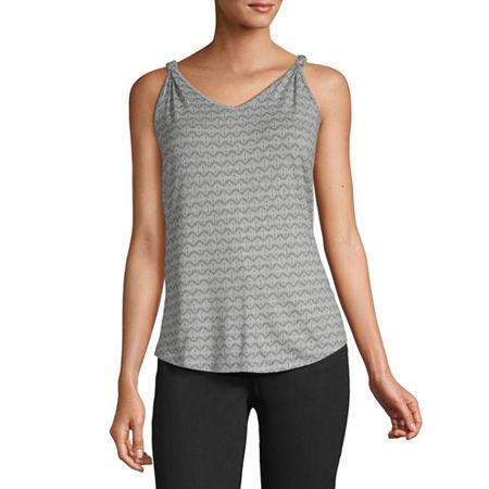 a.n.a Womens V Neck Sleeveless Tank Top, X-small , Gray