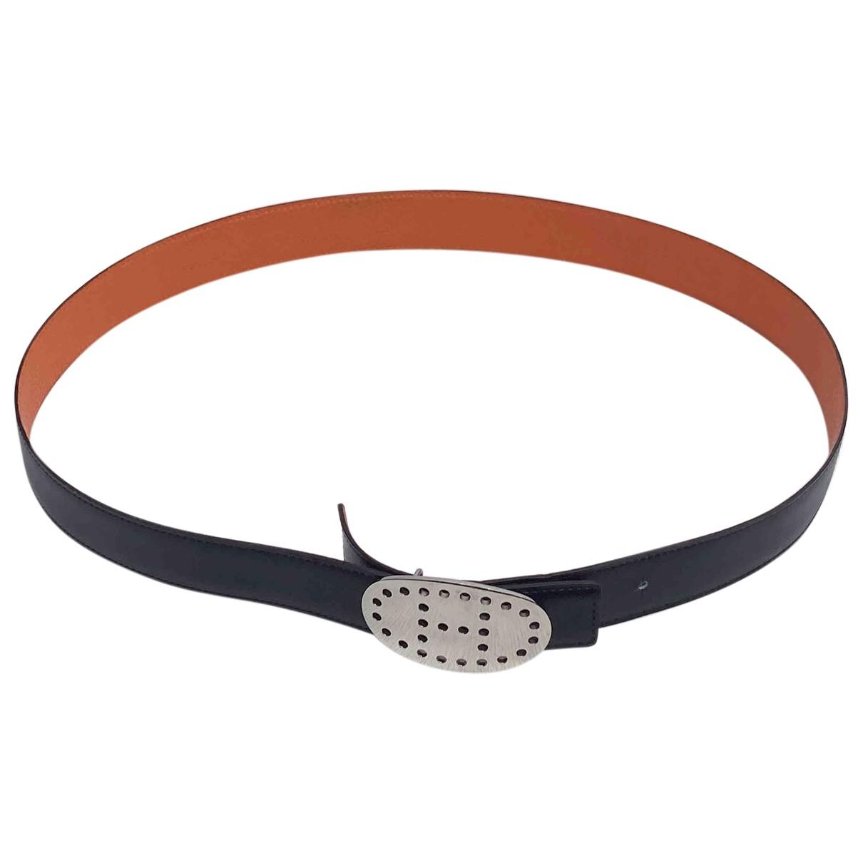 Hermes Boucle seule / Belt buckle Guertel in  Schwarz Leder