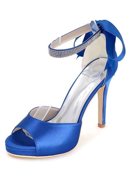Milanoo Zapatos de novia de saten Zapatos de Fiesta de tacon de stiletto Zapatos azul  Zapatos de boda de puntera abierta 11cm con cinta 1.5cm