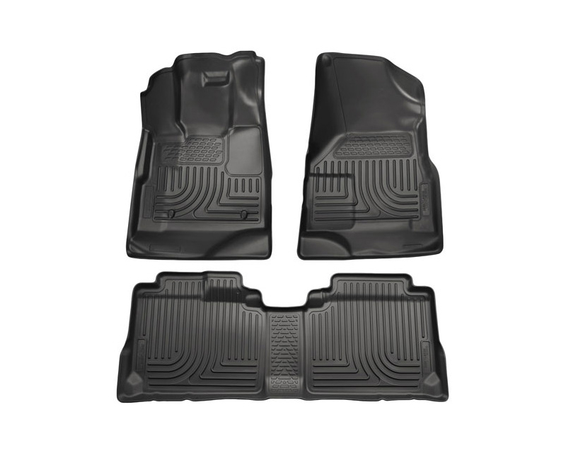 Husky Floor Liners Front & 2nd Row 10-15 Cadillac SRX (Footwell Coverage) WeatherBeater-Black