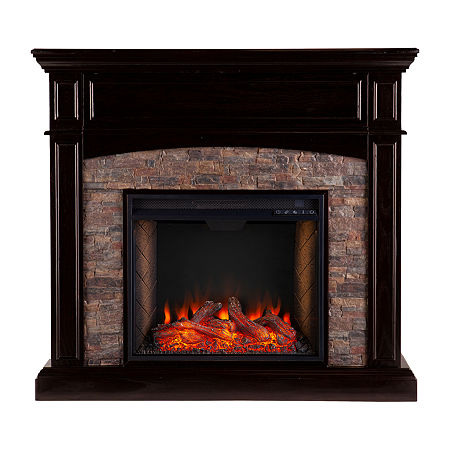 Anders Smart Electric Fireplace, One Size , Brown