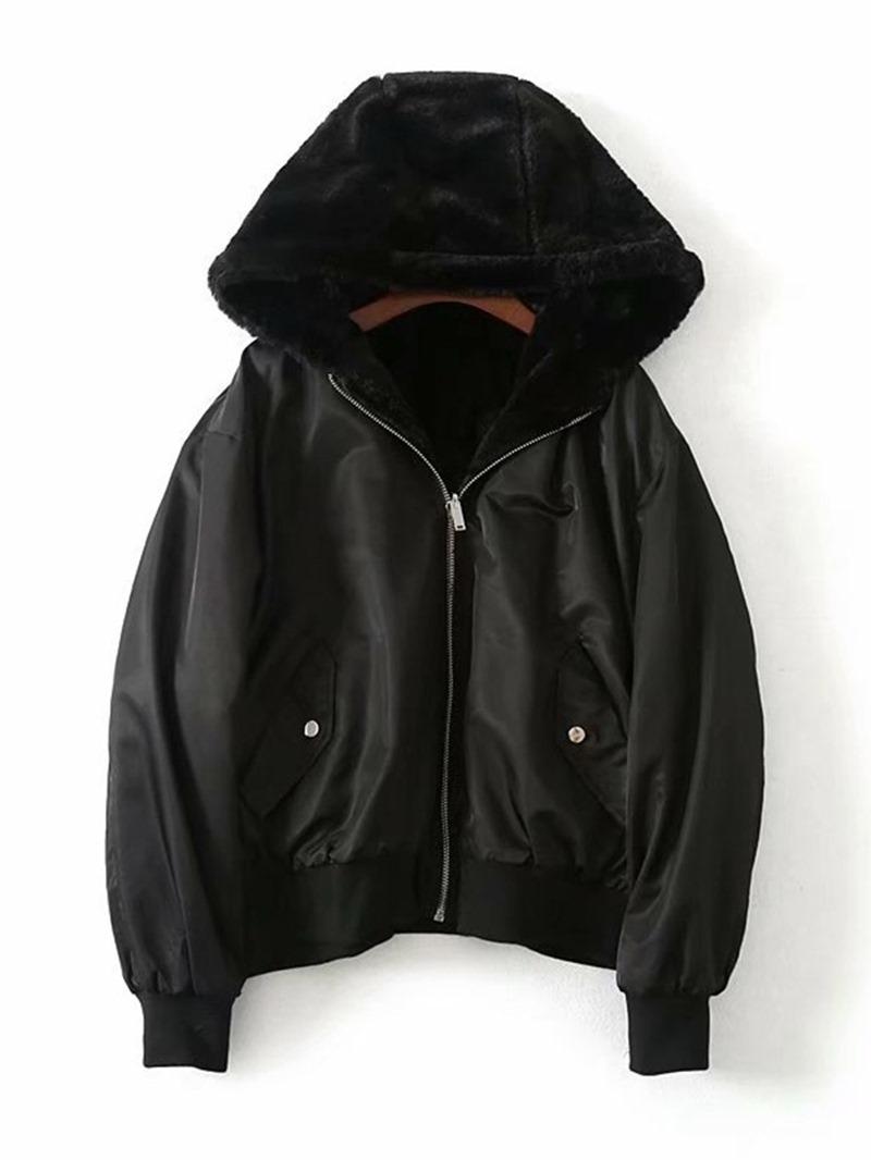 Ericdress Loose Zipper Long Sleeve Hooded Standard Jacket