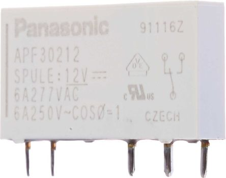 Panasonic SPDT Non-Latching Relay PCB Mount, 12V dc Coil, 6 A