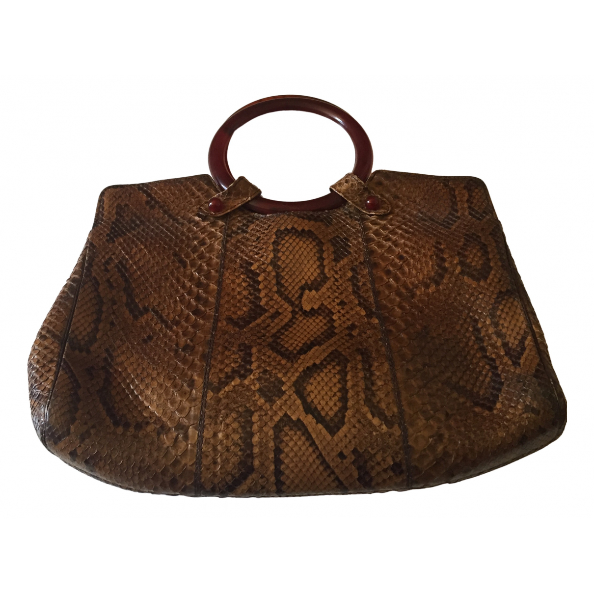 Non Signé / Unsigned N Brown Water snake handbag for Women N