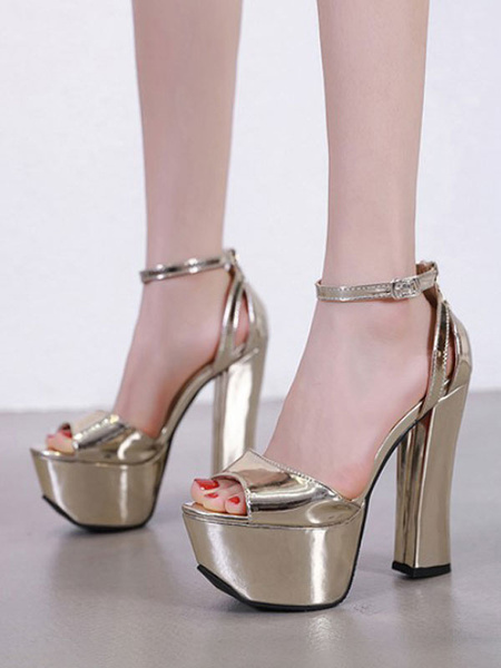Milanoo Sexy Sandals For Woman Silver PU Leather Peep Toe Rubber Sole Ankle Strap Adjustable Sexy Sandals
