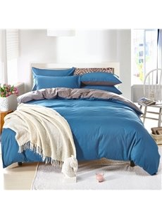 Solid Royal Blue and Gray Color Blocking Cotton 4-Piece Bedding Sets/Duvet Cover