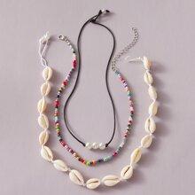 3pcs Shell & Bead Decor Necklace