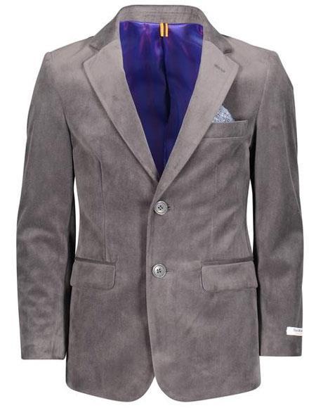 Boys ~ Children Kids Velvet Velour Charcoal Blazers Sport Coat Jacket