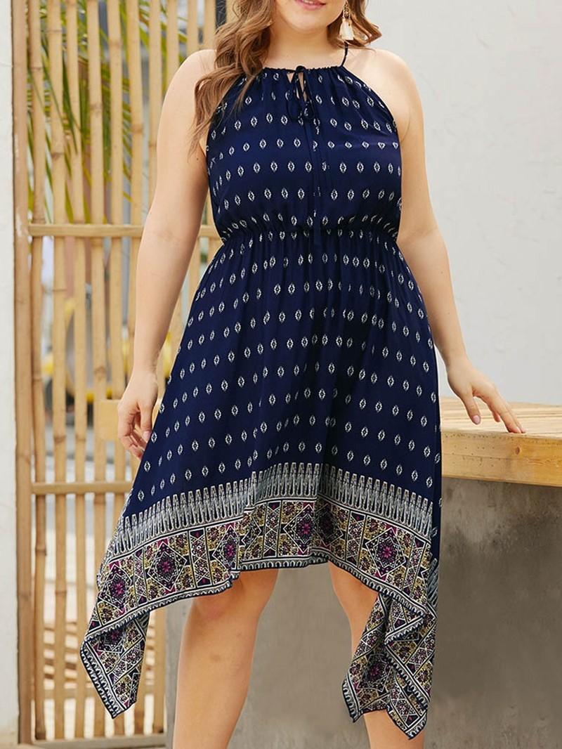 Ericdress Asymmetric Lace-Up Sleeveless Spaghetti Strap Plus Size Dress