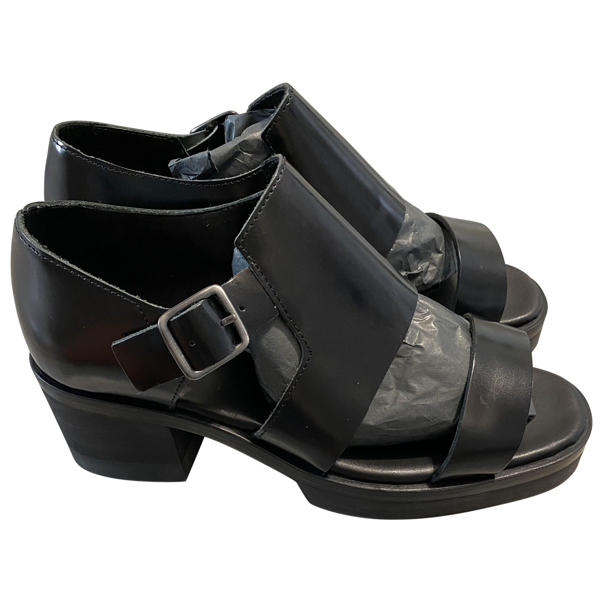 Cos \N Black Leather Sandals for Women 38 EU