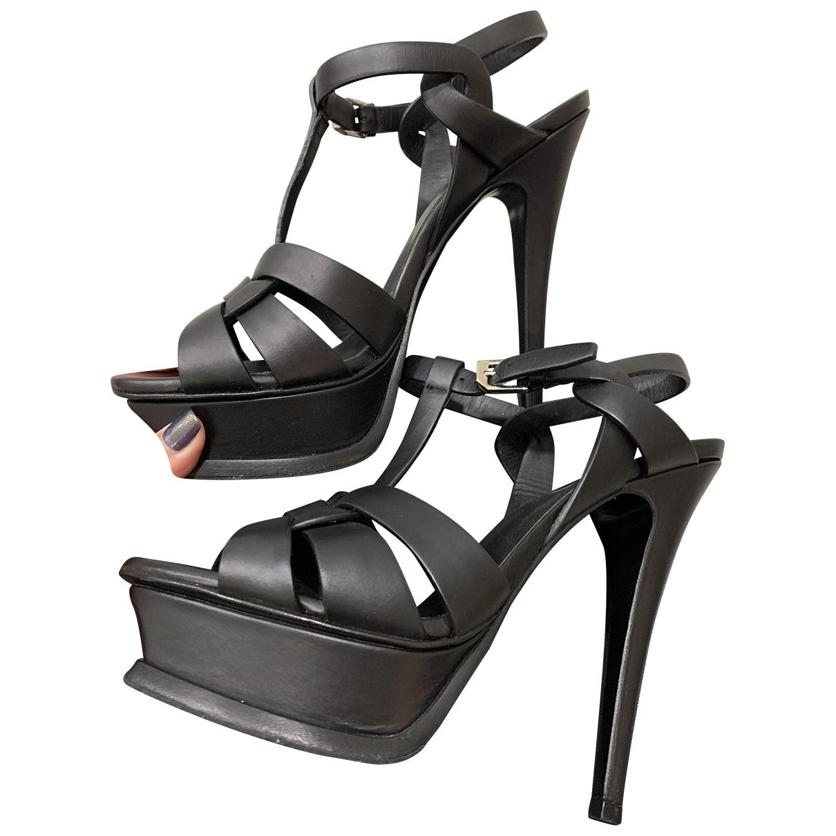 Saint Laurent Tribute Black Leather Sandals for Women 36 EU