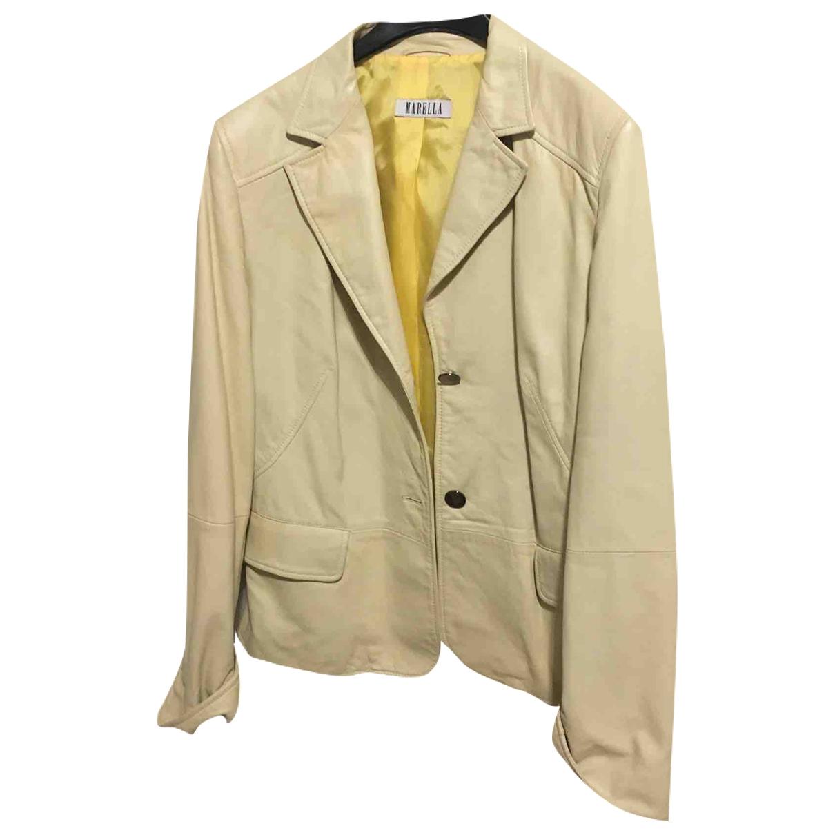 Marella - Veste   pour femme en cuir - jaune