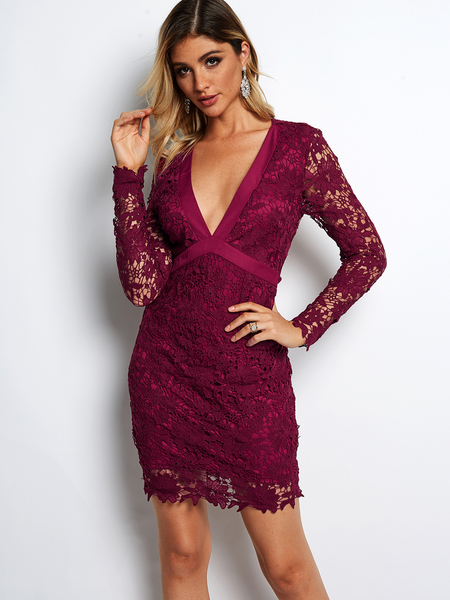 Yoins Burgundy Lace Insert Open Back V-neck Long Sleeves Mini Dress