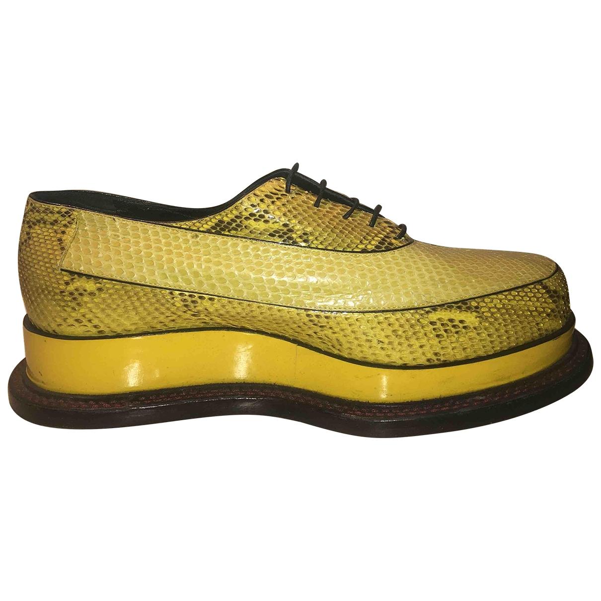 Jil Sander - Derbies   pour femme en python - jaune