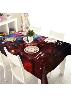 Red Galaxy Pattern Polyester 3D Tablecloth