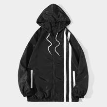 Guys Striped Drawstring Windbreaker Jacket