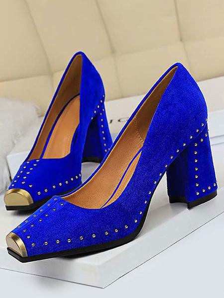 Milanoo Womens High Heels Black Square Toe Cap Toe Flared Heel Chic Modern Pumps