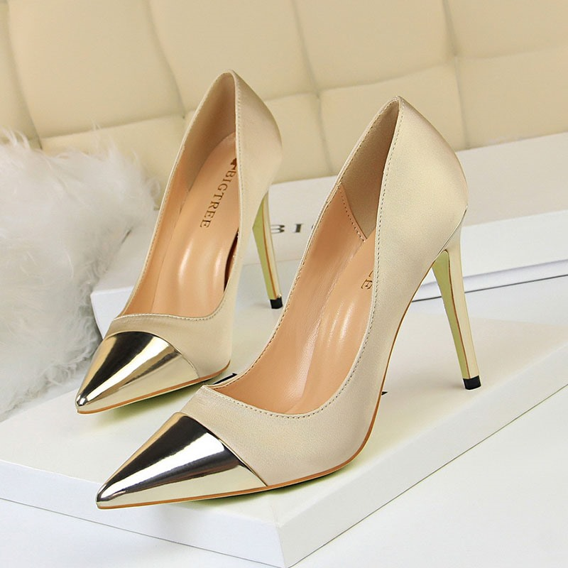 Ericdress Plain Pointed Toe Stiletto Heel Slip-On Women's Pumps