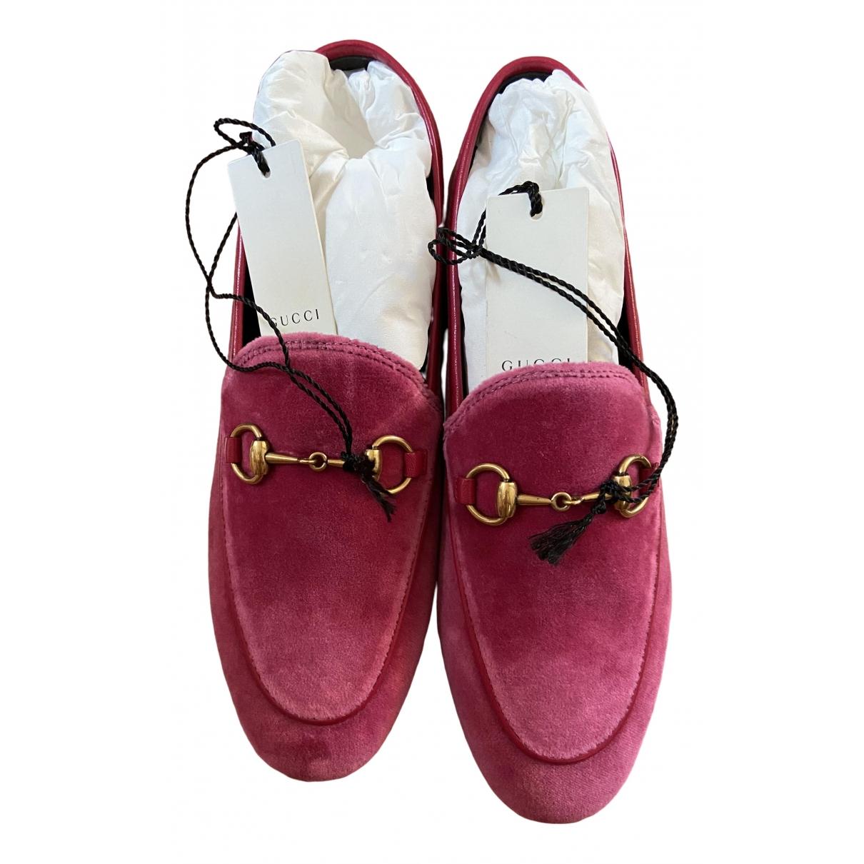 Gucci Jordaan Pink Velvet Flats for Women 35.5 IT