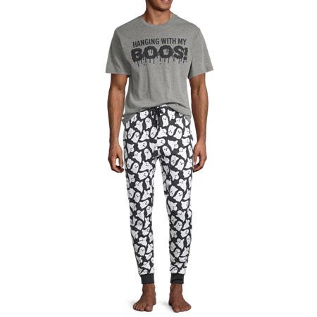 Halloween Family Mens Pant Pajama Set 2-pc. Short Sleeve, Large-x-large , Gray
