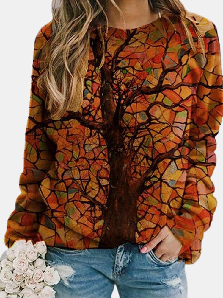 Multi-color Trees Print Long Sleeve O-neck Sweatshirt For Women