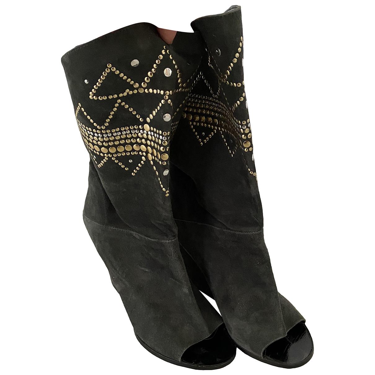 Sandro - Boots   pour femme en suede - gris
