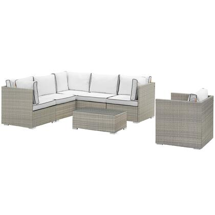 Repose Collection EEI-3010-LGR-WHI-SET 7 Piece Outdoor Patio Sectional Set with Powder Coated Aluminum Frame  Tan/Gray Synthetic Rattan and Machine
