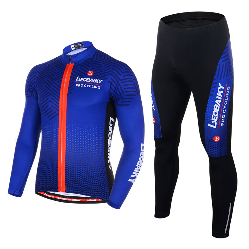 Men's Cycling Clothing Set Breathable Quick Dry Long Sleeve Jersey Blue