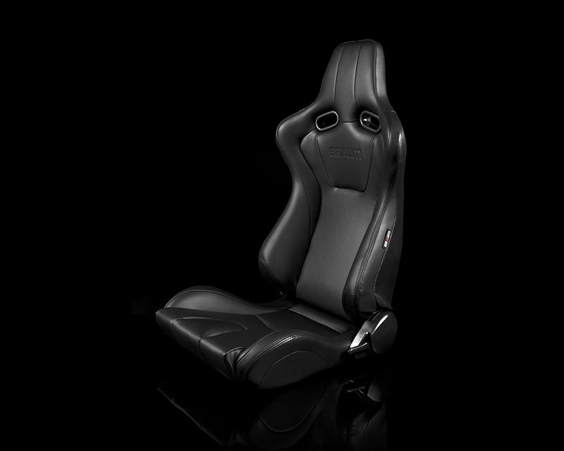 Braum Racing BRR7-BKBK Venom Series Sport Seats - Black Leatherette