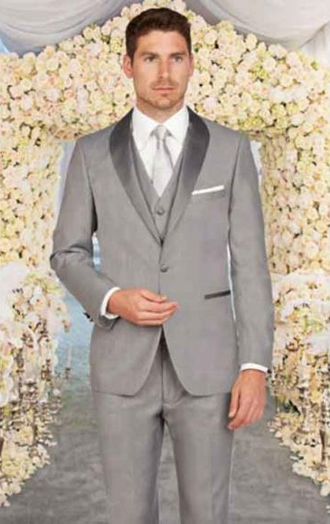 Men's Light Grey Shawl Lapel Slim Fit 1Button Closure Single Vest Suit