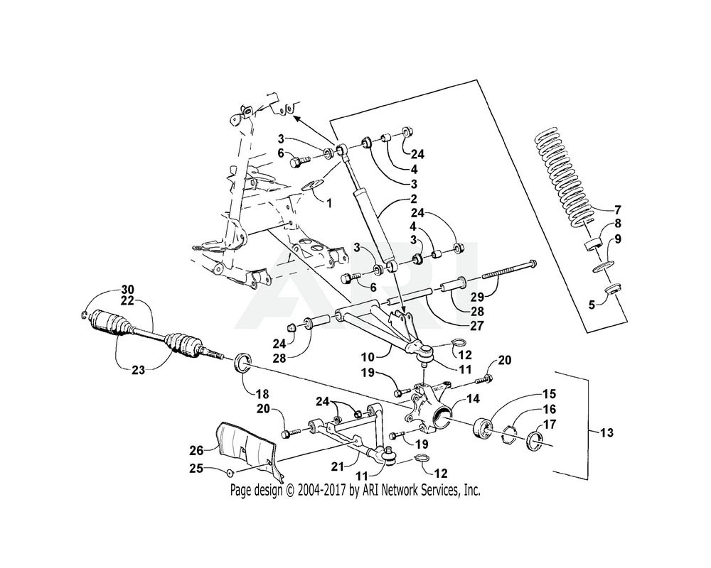 Arctic Cat OEM 0503-193 A Arm Upper Front Left Hand Fabrication | (Inc. 11 12 And 27 28)