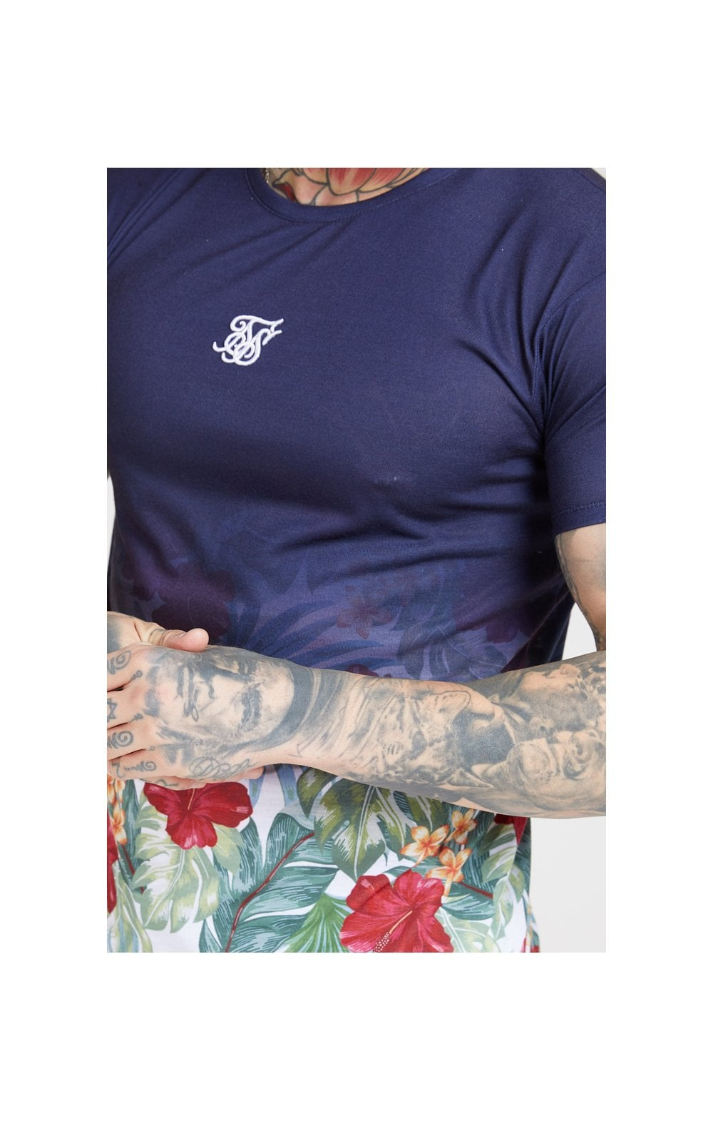 SikSilk S/S Curved Hem Fade Tee  Navy  MEN SIZES TOP: Extra Large